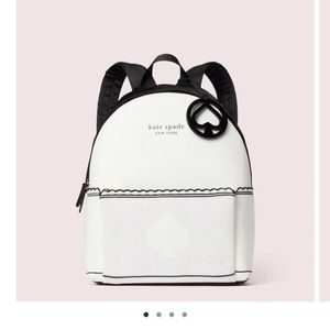 Large white and black kate spade backpack